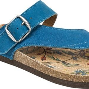 NEW White Mountain Blue Leather Cork Sandals 7